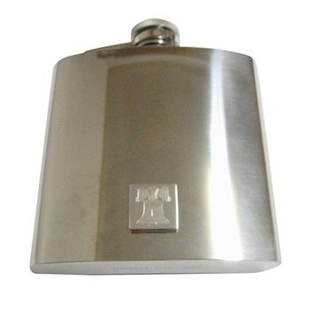 Silver Toned Etched American Liberty Bell 6 Oz. Stainless Steel Flask