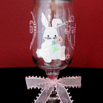 Easter Apothecary Candy Jar ~ Glass Candy Jar on Glass Candle Holder w/ a Green Butterfly on Lid an Easter Bunny & Pink Crystals on the jar!