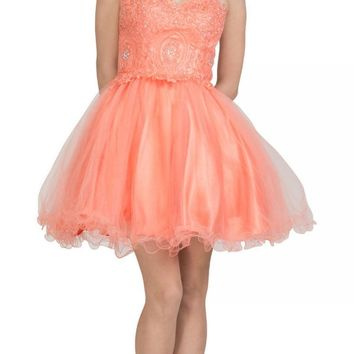Starbox USA S6413 Strapless Poofy Homecoming Dress Coral Sweetheart Neckline