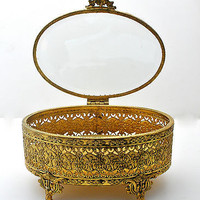 Jewelry  Box Ormolu Filigree Casket Beveled Glass Vintage