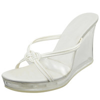 Womens Platform Sandals Clear Wedge Knotted Strap Sexy Casual Shoes White SZ 9
