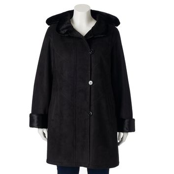 Gallery Hooded Faux-Shearling Walker Coat - Women's Plus Size, Size:
