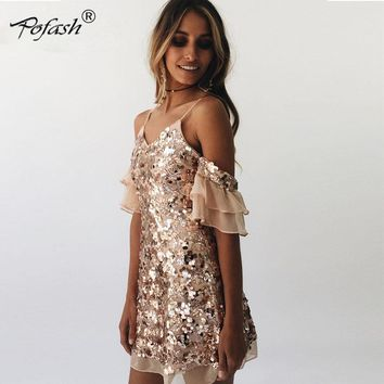 Fuedage 2017 Lace Off Shoulder Straps Women Causal Dress  Patchwork Sequined Evening Party Dress Short Sleeves Summer Wear