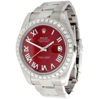 Rolex Popular Women Men Diamond Business Movement Simple Watch Wristwatch I
