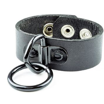"Black 1"" O-Ring Quality Leather Wristband Cuff Bracelet"