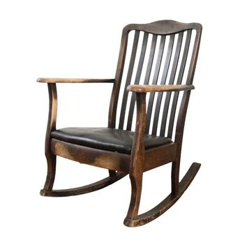 Pre-owned Antique Mission Style Wooden Rocking Chair