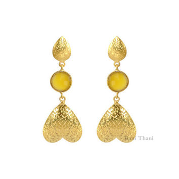 Beautiful Yellow Chalcedony Round Faceted 10x10 Micron Gold Plated 925 Sterling Silver Earring - #2363