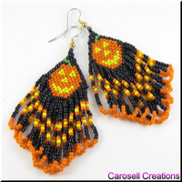Pumpkin Patch Halloween Holiday Beadwork Seed Bead Earrings
