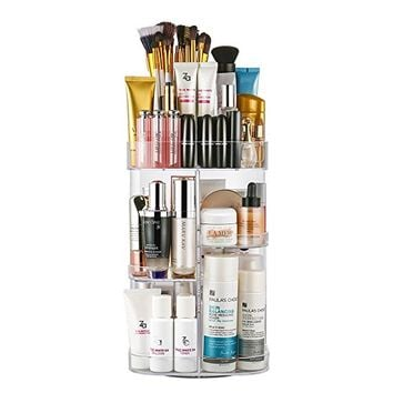 Jerrybox Acrylic Makeup Organizer 360-Degree Rotating Cosmetic Organizer Adjustable Cosmetic Storage Box, Fits for Cosmetics, Brushes, Lipsticks and Jewelry, Compact Size, Clear Transparent