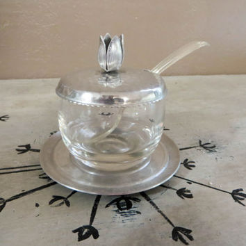 Sugar Bowl Glass Sugar Bowl with Hammered Aluminum Top Covered Bowl Honey Bowl Jam Jar Vintage Covered Pot Glass Pot