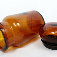 Vintage Amber Glass Apothecary Jar/Brown Glass Bubble Lid Pharmacy Container/Made in Belgium Glasd