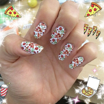 PIZZA PARTY NAILS fun water slide decals
