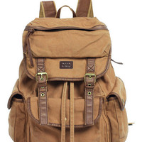 Old School Solid Canvas Knapsack Backpack