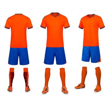 Free Shipping Netherlands Popular Love Orange Color Blank Customized Men's Youth Soccer Sets Football Team Club Uniforms Shirts