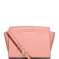 Michael Michael Kors Selma Medium Saffiano Messenger Bag, Pale Pink LAVELIQ