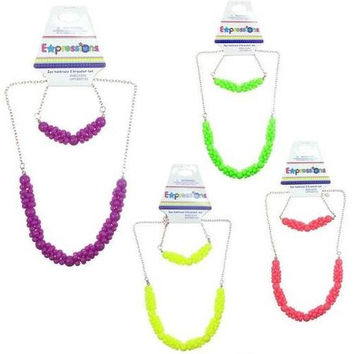 Expressions 2 pc Necklace & Bracelet Sets with Neon Beads