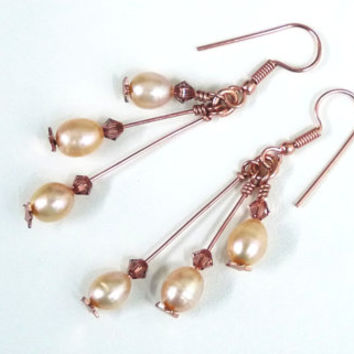 Rose Gold and Pearl Drop Earrings with Swarovski Crystals, Peach Freshwater Pearls, Dangle Earrings, Bridal Jewelry, Bridesmaids Gifts