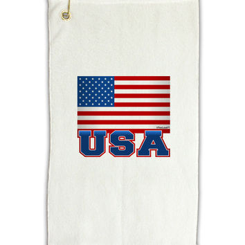 "USA Flag Micro Terry Gromet Golf Towel 11""x19"