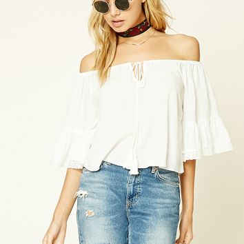 Lace-Trim Off-The-Shoulder Top