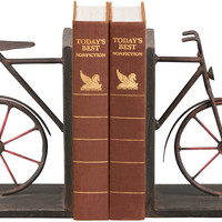 0-013025>Pair Bicycle Bookends Rusty Brown