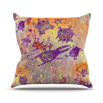"""Marianna Tankelevich """"Levitating Monsters"""" Orange Purple Outdoor Throw Pillow"""