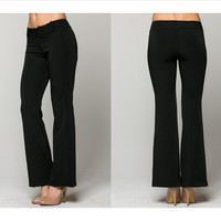 Flared pinstripe pants with side front button closure (Small through XL)