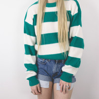 Vintage Teal Striped Sweater