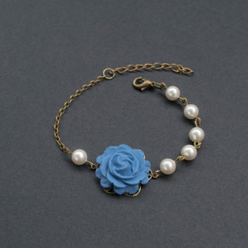 Polymer Clay Jean Blue Rose Bracelet. Swarovski Pearls Beaded Bracelet. Pearl Bracelet. Flower Bracelet. Blue Jewelry. Antique Brass