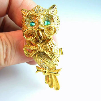 Rhinestone Owl Brooch Vintage 1960s Figural Signed DeNicola Professor Teacher Green Eyes Pinc Nez Glasses Bow Hollywood Regency