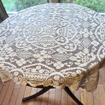 "Vintage Filet Lace Tablecloth,Vintage Crochet Tablecloth,30.7""/78cm Square Tablecloth,Ecru Doily,Crochet Doily,Vintage Doily,Vintage Linens"