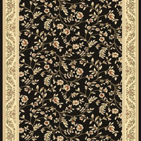 Manor House / Elite Traditional Royalty Area Rug Black Floral