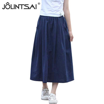 New Spring Summer Ladies Skirt Linen Cotton Meduim Long Skirts Womens 2016 Casual Solid Women Skirt 4 Colors