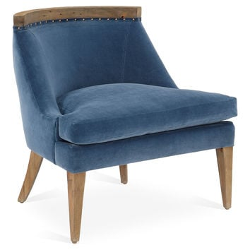 Sarah Velvet Chair, Navy, Accent & Occasional Chairs