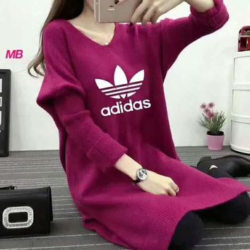 Adidas Bat Sleeve Knit Dress F-MLDWX