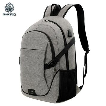 INHO CHANCY Smart USB Charging Back Pack Canvas  Bags Waterproof Computer Business Travel Backpack School Bag Men And Women