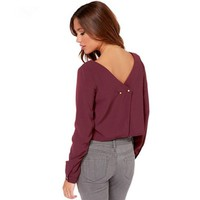 Women Solid Color Casual Sexy Backless Loose Long Sleeve Chiffon Shirt Tops