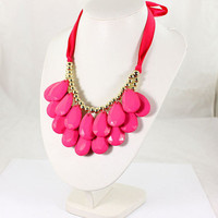 Hot Pink Beaded Statement Necklace
