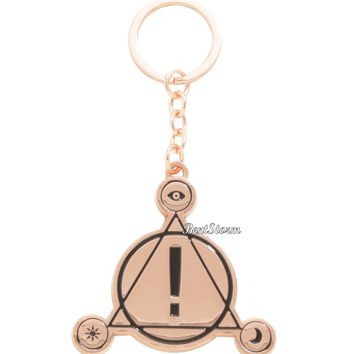 Licensed cool Panic! at the Disco Band Symbol Logo Rose Gold Metal Key Ring Chain Keychain NEW