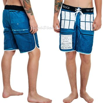 Licensed cool BBC DOCTOR WHO DR Tardis Police  Box Board Shorts Mesh Swim Trunks Men's L