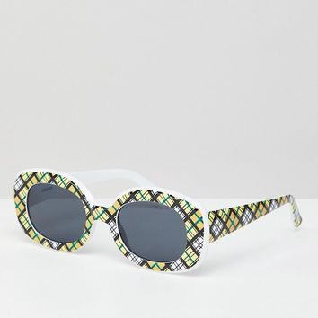 ASOS DESIGN Check Print 90S Square Sunglasses at asos.com