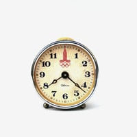 Vintage alarm clock Sevani retro clock soviet metal clock mid century mechanical clock Russian Olympics alarm clock Christmas home decor