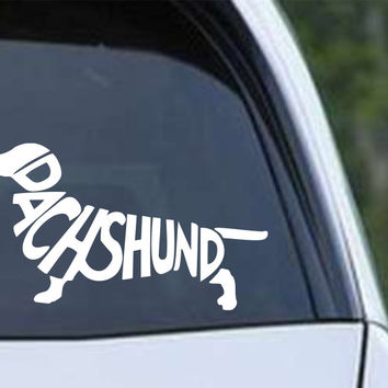 Dachshund Letters Silhouette Die Cut Vinyl Decal Sticker