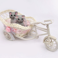 Wedding Cake Topper, Cat Cake Topper, Cat in Tricycle's Basket, Polymer Clay Cat Cake Topper, Kitty Cake Topper