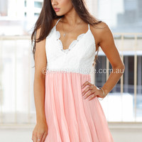 Baby Pink Pleated Lace Dress (Baby Pink)