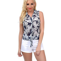 Retro Style Navy & White Hawaiian Floral Button Up Sheer Tie Blouse