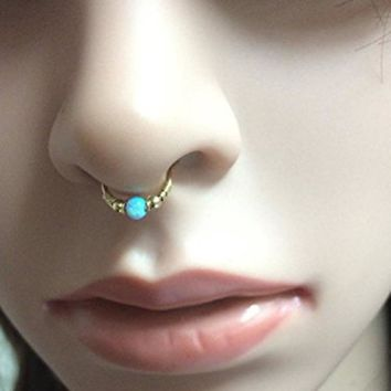 Nose Ring Natural stone Nostril Hoop Nose Earring Piercing Jewelry 6mm-10mm Stainless Steel