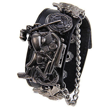 Motorcycle Pistol Chain Leather Bracelet Watch