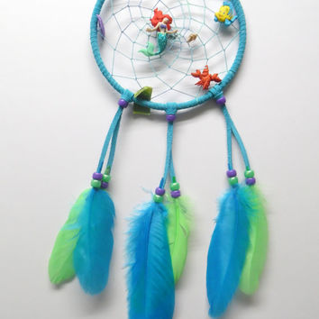 Disney Ariel the Little Mermaid Dream Catcher, turquoise suede, medium