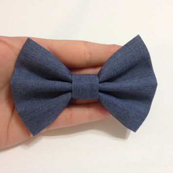 Denim / Chambray Blue Fabric Hair Bow - 4.5 Inches Wide