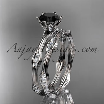 platinum diamond wedding ring, engagement ring, engagement set with a Black Diamond center stone ADLR132S